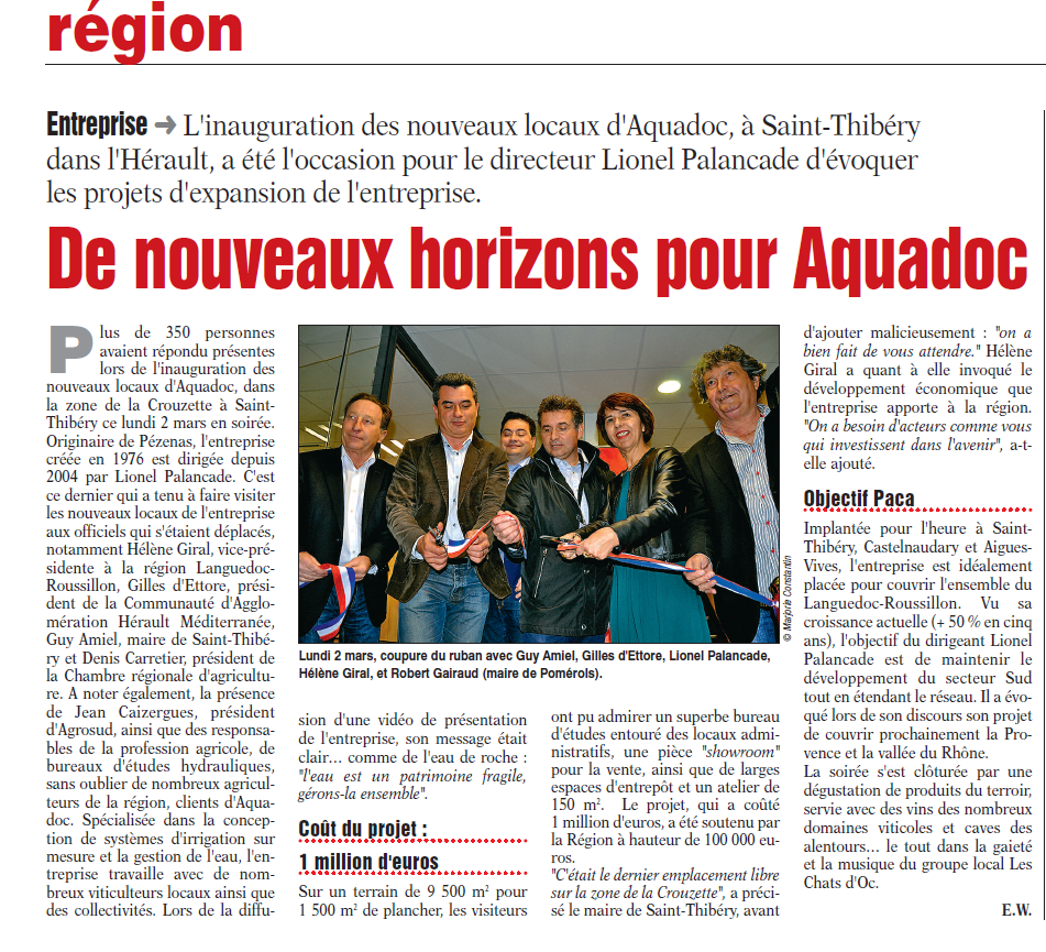 Aquadoc Inauguration Journal la région